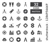 nautical icon set. collection... | Shutterstock .eps vector #1286956669