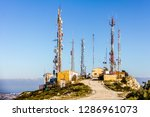 telecommunication antennas in... | Shutterstock . vector #1286961073