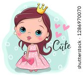 greeting card with cute cartoon ... | Shutterstock .eps vector #1286970070