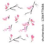 paper cut plum flower and... | Shutterstock .eps vector #1286975686