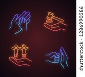 child custody neon light icons... | Shutterstock .eps vector #1286990386