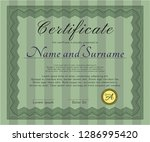 green certificate or diploma... | Shutterstock .eps vector #1286995420