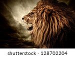 Roaring Lion Against Stormy Sky