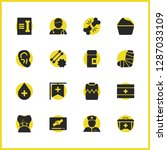 medicine icons set with record...