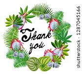 wreath of tropical leaves.... | Shutterstock .eps vector #1287045166