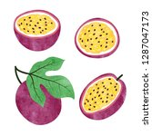 set of watercolor passion fruit ... | Shutterstock .eps vector #1287047173