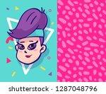 girl character wearing trendy... | Shutterstock .eps vector #1287048796