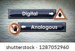 wall sign digital vs analogous | Shutterstock . vector #1287052960