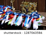 group of horse riding... | Shutterstock . vector #1287063586