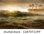 paradise surf in the sunset | Shutterstock . vector #1287071299