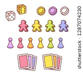 board game pieces set in cute... | Shutterstock .eps vector #1287074230