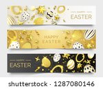 three easter horizontal banners ... | Shutterstock .eps vector #1287080146
