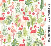 tropical flower composition ... | Shutterstock . vector #1287086506