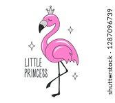 art glitter flamingo drawing... | Shutterstock .eps vector #1287096739