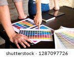graphic designers choose colors ... | Shutterstock . vector #1287097726