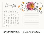december calendar with ink... | Shutterstock .eps vector #1287119239