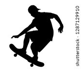 the boy with skate board...   Shutterstock .eps vector #1287129910