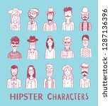 hipster people icon set. vector ... | Shutterstock .eps vector #1287136396