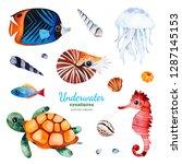 underwater creatures watercolor ... | Shutterstock . vector #1287145153