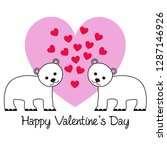 cute bears valentine on pink... | Shutterstock .eps vector #1287146926
