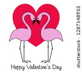 valentines day flamingos with... | Shutterstock .eps vector #1287148933