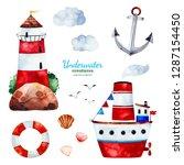 underwater creatures.watercolor ... | Shutterstock . vector #1287154450