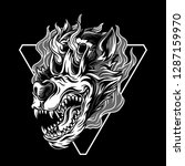 wolf in flames black and white... | Shutterstock .eps vector #1287159970
