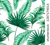 tropical palm leaves  jungle... | Shutterstock .eps vector #1287174013