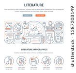 linear banner of the literature.... | Shutterstock .eps vector #1287203149