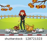 Stock vector illustration of a lady at the park strolling with her pets 128721323