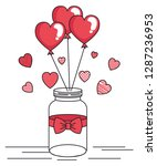 jar with bow and balloons... | Shutterstock .eps vector #1287236953