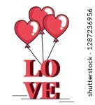 valentines day card with... | Shutterstock .eps vector #1287236956