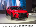 Small photo of DETROIT, MI/USA - JANUARY 14, 2019: A 2019 Chevy Blazer RS at the North American International Auto Show (NAIAS), one of the most influential car shows in the world each year.