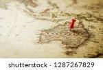 single red pushpin marking a...   Shutterstock . vector #1287267829