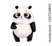 cute little panda bear with big ... | Shutterstock . vector #1287268843