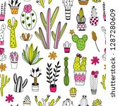 succulents and cacti seamless... | Shutterstock .eps vector #1287280609