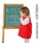one little girl is writing... | Shutterstock . vector #128728604