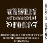 ornamental whiskey font. hand...   Shutterstock .eps vector #1287286906