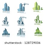 building icon set. abstract... | Shutterstock .eps vector #128729036