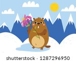 happy groundhog day. greeting...   Shutterstock .eps vector #1287296950