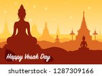 happy vesak day with buddha.... | Shutterstock .eps vector #1287309166