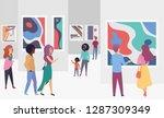 exhibition gallery visitors...   Shutterstock .eps vector #1287309349