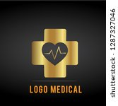 medical logo gold  | Shutterstock .eps vector #1287327046
