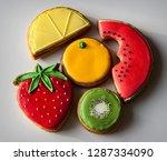 colorful fruit cookies | Shutterstock . vector #1287334090