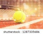tennis game. tennis ball and...   Shutterstock . vector #1287335686