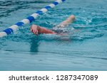 man swimming in a pool | Shutterstock . vector #1287347089