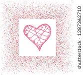 rose gold glitter heart frame.... | Shutterstock .eps vector #1287362710