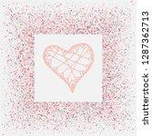 rose gold glitter heart frame.... | Shutterstock .eps vector #1287362713