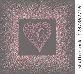 rose gold glitter heart frame.... | Shutterstock .eps vector #1287362716