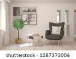 white modern room with armchair.... | Shutterstock . vector #1287373006